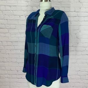 MAURICES Purple Plaid Long Sleeve Fitted Blouse S
